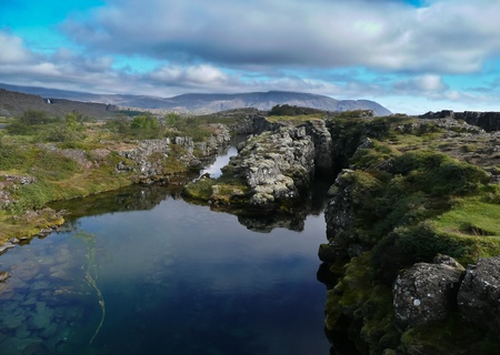tectonics: Hot Water Rock Pools at Pingvellir, Iceland Stock Photo