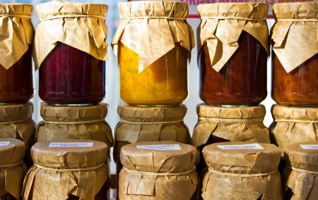 pantry: Jars of home made preserve Stock Photo
