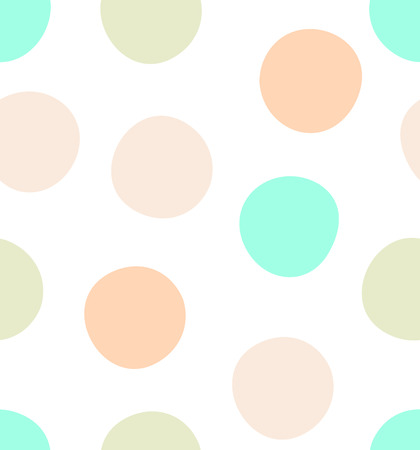 Cute kids polka dot colorful seamless pattern with glittering gold and solid pastel shades pink, green and beige dots and circles on solid white background. Vettoriali