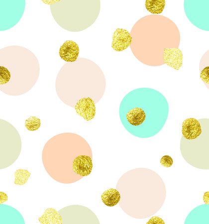 nature pattern: Cute kids polka dot colorful seamless pattern with glittering gold and solid pastel shades pink, green and beige dots and circles on solid white background. Illustration