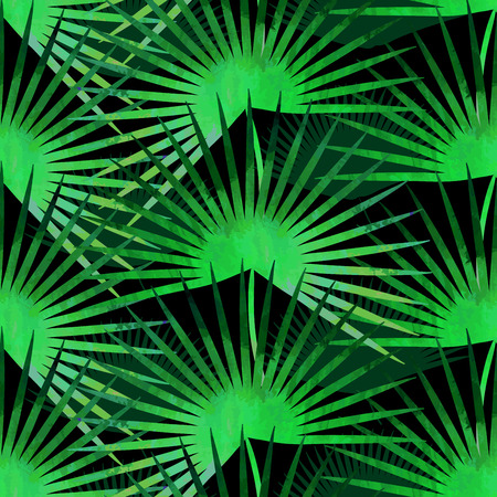 palmtree: Trendy tropical seamless vector texture.Paint textured palm-tree leaves botanic pattern. Exotic green plants on solid black background. Tropical jungle style backdrop.
