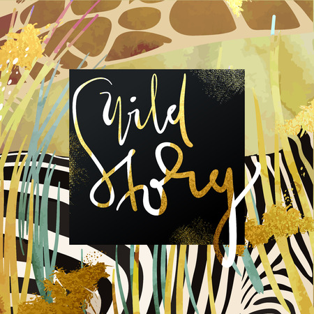 zebra head: Trendy safari style african savanna nature and animals vector illustration. Dry grass, zebra and giraffe texture with glittering gold art strokes and stardust. Hand written wild story lettering.