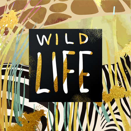life style: Trendy safari style african savanna nature and animals vector illustration. Dry grass, zebra and giraffe texture with glittering gold art strokes and stardust. Hand written wild life lettering.