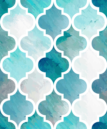 Tony watercolor abstract seamless texture. Modern stylish vector pattern. Repeating background. Blue and white painting textured backdrop. Ilustrace