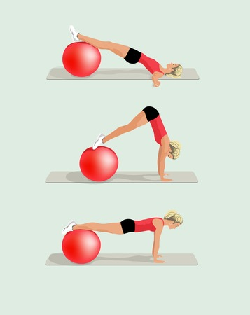 fit ball: Set of realistic fitness woman exercising on fit ball vector illustration.