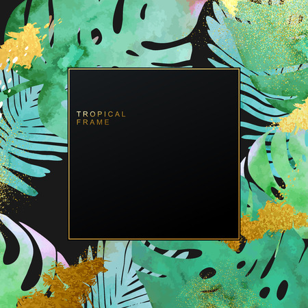 Trendy tropical jungle style vector frame template. Paint textured palm-tree leaves botanic backdrop. Exotic green, blue, pink plants with glittering gold blots and stardust texture. Ilustrace