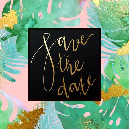 Trendy stile giungla invito modello vettoriale tropicale. Vernice strutturata palma lascia sullo sfondo botanico. verde esotico, blu, piante rosa con scintillanti macchie d'oro e texture Stardust.