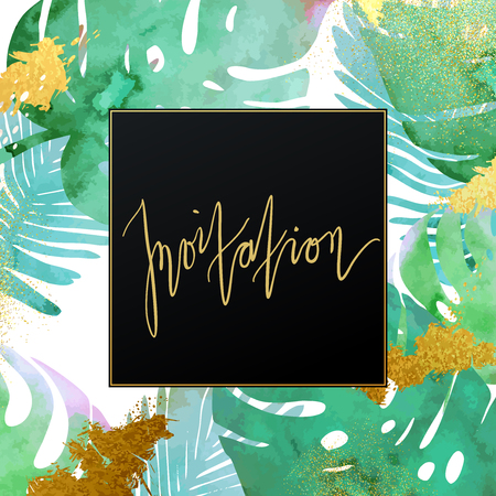 botanic: Trendy tropical jungle style vector invitation template. Paint textured palm-tree leaves botanic backdrop. Exotic green, blue, pink plants with glittering gold blots and stardust texture.