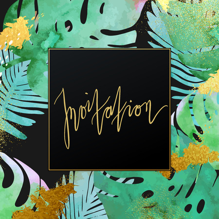 Trendy tropical jungle style vector invitation template. Paint textured palm-tree leaves botanic backdrop. Exotic green, blue, pink plants with glittering gold blots and stardust texture.