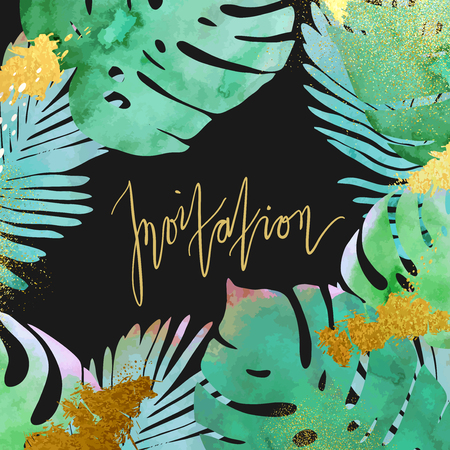 palmtree: Trendy tropical jungle style vector invitation template. Paint textured palm-tree leaves botanic backdrop. Exotic green, blue, pink plants with glittering gold blots and stardust texture.