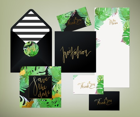 Trendy tropical jungle style vector wedding print set. Invitation cards, menu and envelope vector templates with exotic green, blue, pink plants with glittering gold blots and stripes texture. Ilustrace