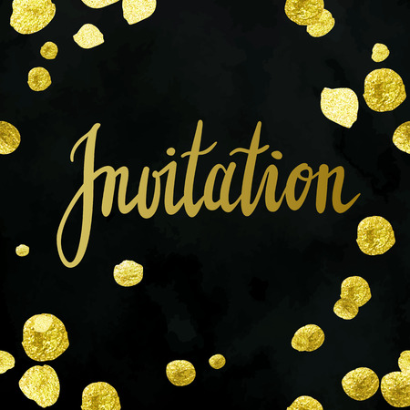 Vector invitation template with tony classic golden hand written lettering