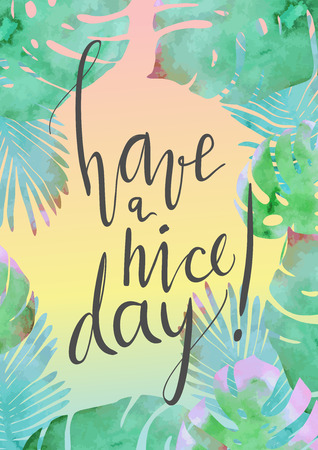 Trendy tropical jungle style vector illustration. Paint textured palm-tree leaves botanic frame backdrop and hand written lettering card. Exotic green, blue, pink plants texture.