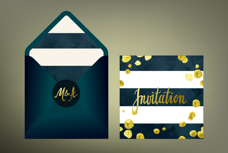 suite: Tony glittering gold textured wedding invitation suite. Stylish invitation cards and envelope vector templates with hand written calligraphy elements and glitter gold blots on deep blue and white striped background.