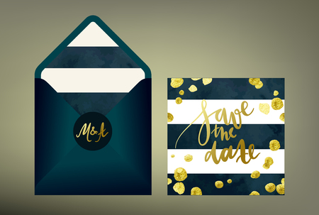 Tony glittering gold textured wedding invitation suite. Stylish invitation cards and envelope vector templates with hand written calligraphy elements and glitter gold blots on deep blue and white striped background. Ilustração Vetorial