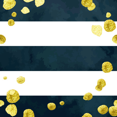 Tony frame vector backdrop with glittering gold blots on deep blue and white striped background.