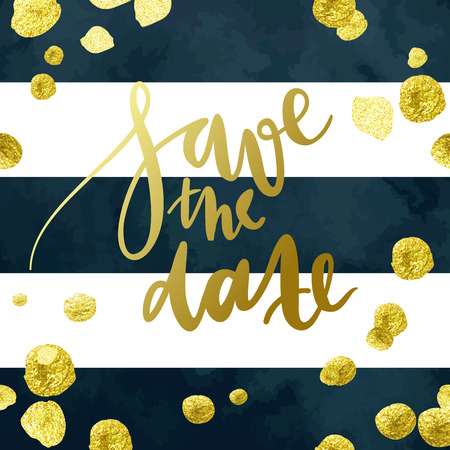 Tony wedding invitation vector template with hand written calligraphy elements and glittering gold blots on deep blue and white striped background. Ilustrace