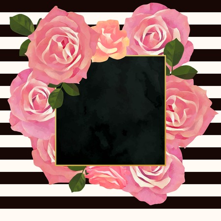 botanic: Trendy floral frame template. Paint textured botanic illustration. Watercolor cream and pink rose flowers with green leaves on striped texture and black velvet backdrop. Illustration