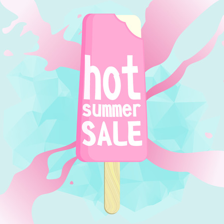 flayer: Hot summer sale. Melting ice cream. Brochure design or flayer template, vector illustration