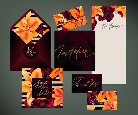 Trendy floral  wedding print set. Invitation cards, menu and envelope templates with exotic orange lilies and dark pink peonies with paint, gold, burgundy velvet and stripes textures.