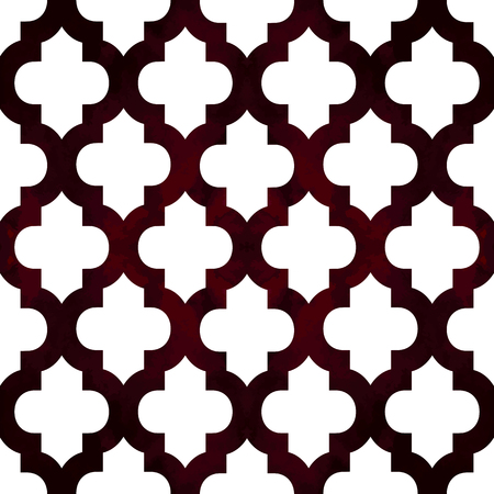 Abstract geometric seamless pattern. Trendy textile or interior wallpaper repeatable texture. Tony white and burgundy marsala color shades. Waves shapes ogee background.