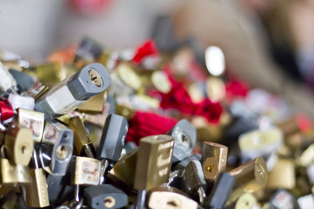 hundreds: Detail closeup on hundreds of padlocks attached to a railing