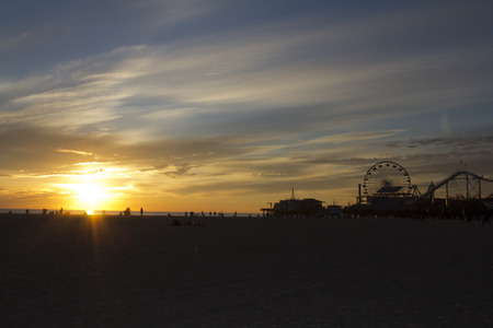monica: Santa Monica Pier on the sunset
