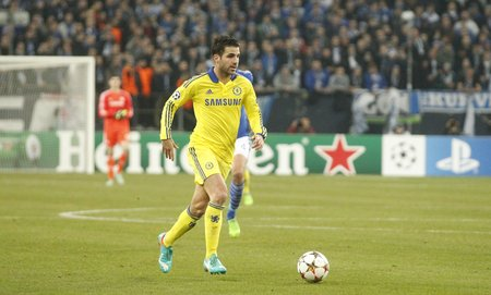 Gelsenkirchen, Germany - November 25: Cesc Fabregas and Chelsea FC at the Champions League match entre FC Schalke 04 and Chelsea at Veltins-Arena November 25, 2015 in Gelsenkirchen, Germany