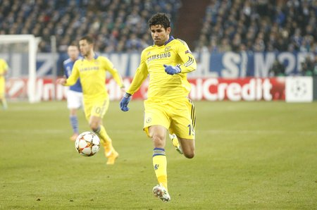 chelsea: Gelsenkirchen, Germany - November 25: Diego Costa and Chelsea FC at the Champions League match entre FC Schalke 04 and Chelsea at Veltins-Arena November 25, 2015 in Gelsenkirchen, Germany Editorial