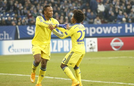 Gelsenkirchen, Germany - November 25: Didier Drogba  et William DURING THE entre Champions League match FC Schalke 04 and Chelsea at Veltins-Arena November 25, 2015 in Gelsenkirchen, Germany