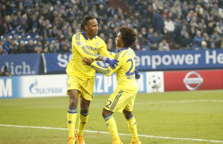 Gelsenkirchen, Germany - November 25: Didier Drogba et William  DURING THE entre Champions League match FC Schalke 04 and Chelsea at Veltins-Arena November 25, 2015 in Gelsenkirchen, Germany Editorial