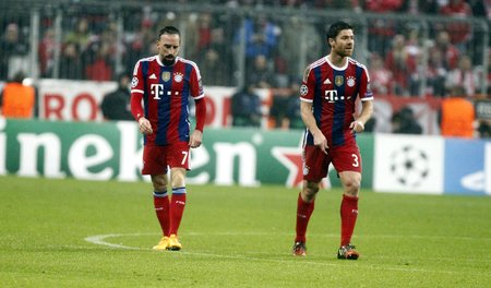 bayern: Munich, Germany - November 5: Franck Ribery and Xabi Alonso during the Champions League between Bayern Munich and AS Roma at the Allianz Arena November 5, 2015 Munich, Germany Editorial