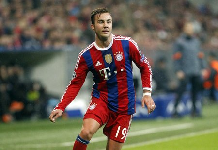 mario: Munich, Germany - November 5: Mario Gotze during the Champions League between Bayern Munich and AS Roma at the Allianz Arena November 5, 2015 Munich, Germany