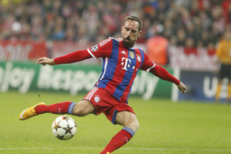 Munich, Germany - November 5: DURING THE Franck Ribery from Bayern Munich Champions League and AS Roma at the Allianz Arena November 5, 2015 Munich, Germany