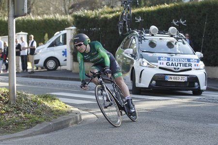 francais: Maurepas, France - March 8 Cyril Gautier Team Europcar during the prologue of Paris - Nice cycling March 8, 2015 Maurepas, France