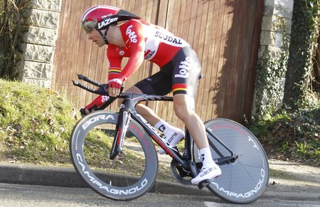 francais: Maurepas, France - March 8 Tony Gallopin Lotto Soudal during the prologue of Paris - Nice cycling March 8, 2015 Maurepas, France Editorial