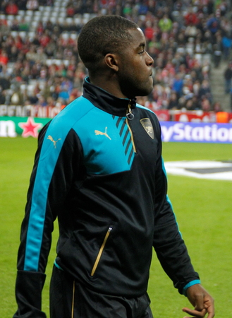 arsenal: Munich - November 4: Joel Campbell During The heating of the Champion League match Bayern Munich - FC Arsenal at the Allianz Arena November 4, 2015 Munich, Germany