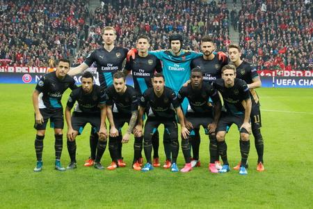 arsenal: Munich - November 4: In the Arsenal Champions League match Bayern Munich - Arsenal FC at the Allianz Arena November 4, 2015 Munich, Germany Editorial