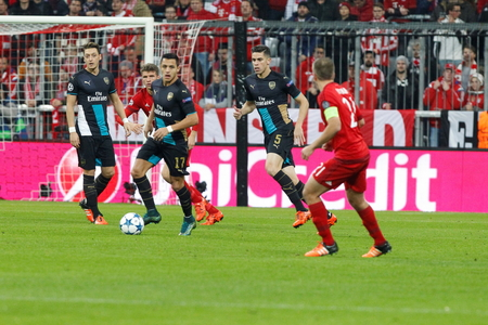 champions league: Munich - November 4: Alexis Sanchez In the Champions League match Bayern Munich - Arsenal FC at the Allianz Arena November 4, 2015 Munich, Germany