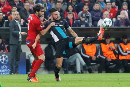 champions league: Munich - November 4: Olivier Giroud In the Champions League match Bayern Munich - Arsenal FC at the Allianz Arena November 4, 2015 Munich, Germany