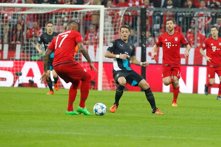 champions league: Munich - November 4: Mesut Ozil in the Champions League match Bayern Munich - Arsenal FC at the Allianz Arena November 4, 2015 Munich, Germany