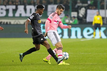 alvaro: Alvaro Morata at the Champion League match Borussia Monchengladbach - Borussia Juventus In stage - Parc November 3, 2015, Monchengladbach, Germany Editorial
