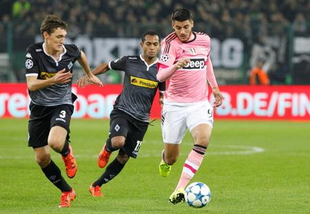 Alvaro Morata at the Champion League match Borussia Monchengladbach - Borussia Juventus In stage - Parc November 3, 2015, Monchengladbach, Germany Editorial