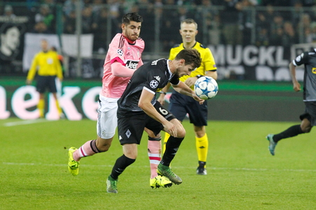 alvaro: Havard Nordtveit And Alvaro Morata at the Champion League match Borussia Monchengladbach - Borussia Juventus In stage - Parc November 3, 2015, Monchengladbach, Germany