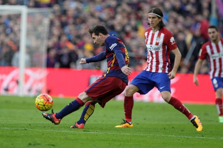 messi: During the match Lionel Messi FC Barcelona Liga - Atletico Madrid January 30, 2016 at the Camp Nou, Barcelona, Editorial