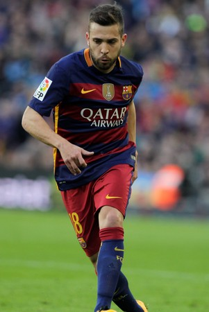 liga: Jordi Alba during the match FC Barcelona Liga - Atletico Madrid January 30, 2016 at the Camp Nou, Barcelona, Spain Editorial