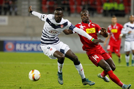 geen: Ludovic Sane and Moussa Konate during the Europa League FC Sion - Girondins Bordeaux November 5, 2015 at Stade whirlpool, Sion, Switzerland