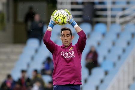 liga: SAN SEBASTIAN, SPAIN - April 6, 2016 Carlos Brav.o Barcelona in action During the La Liga match espagolde Real Sociedad - FC Barcelona at Anoeta Stadium