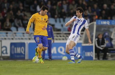 liga: SAN SEBASTIAN, SPAIN - April 6, 2016 Lionel Messi Barcelona in action During the La Liga match espagolde Real Sociedad - FC Barcelona at Anoeta Stadium