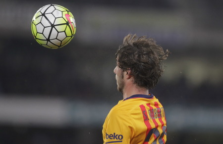 liga: SAN SEBASTIAN, SPAIN - April 6, 2016 Sergi Roberto Barcelona in action During the La Liga match espagolde Real Sociedad - FC Barcelona at Anoeta Stadium